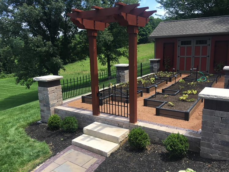 Customer-inspired layout and design that includes raised beds for gardening and trellis on shed walls