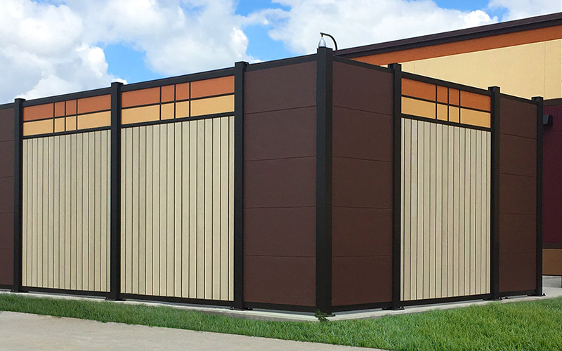 Woodgrain textured PVC & painted metal Security Wall