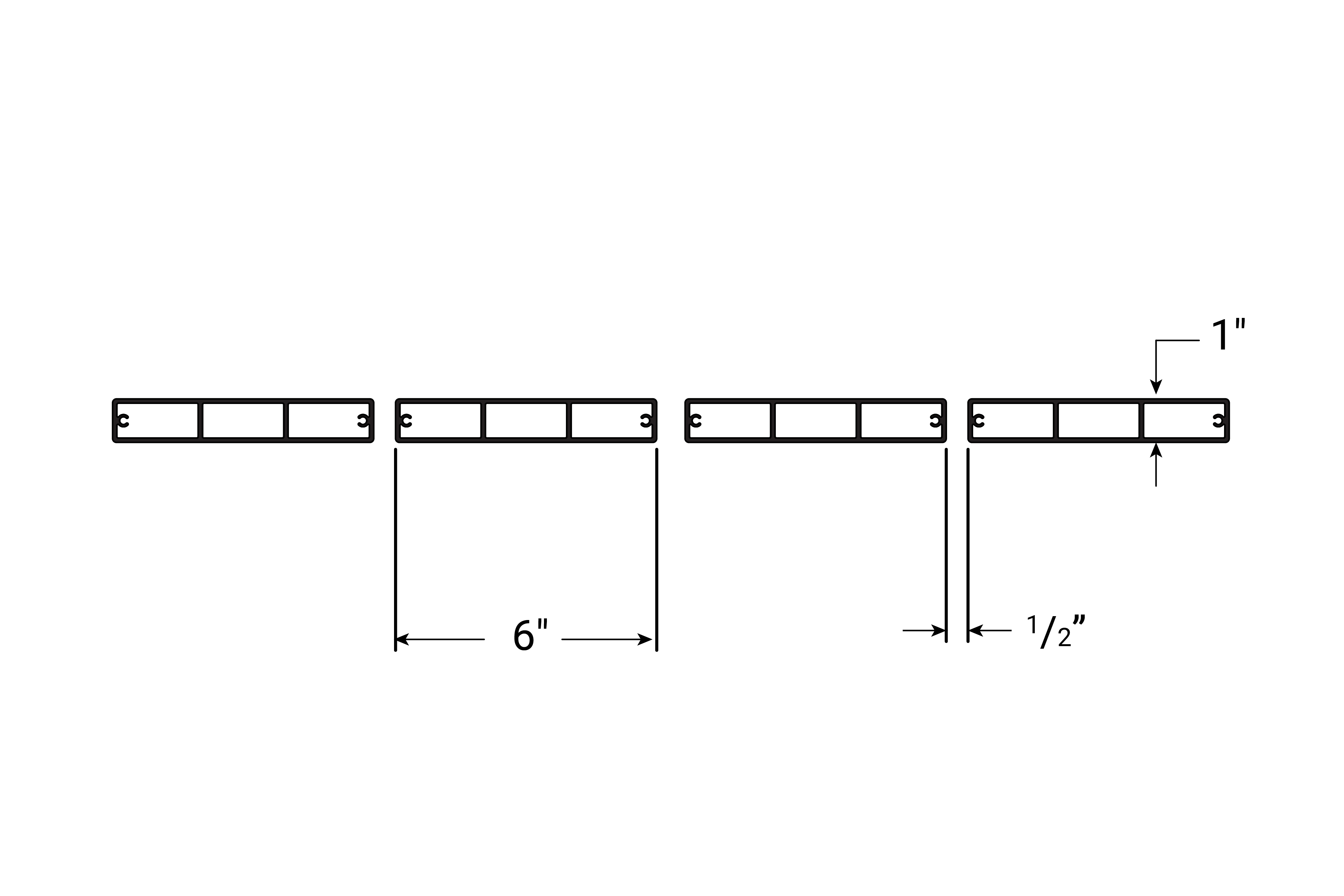 Cross-section for 6 inch and 4 inch slat wall